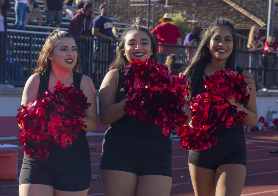 Foothill's Dance Team cheers players at the Foothill Stadium