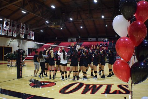 The Foothill Owls volleyball team photographed by Script staff member Kathy Honcharuk