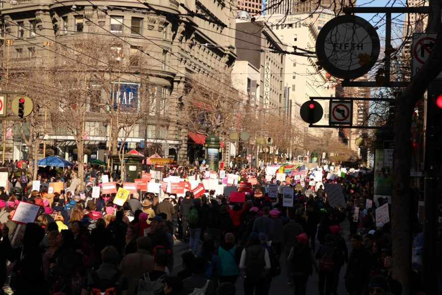 Crowds march and chant loudly in San Francisco