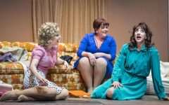 (L to R): Doralee (Allie Townsend), Violet (Glenna Murillo), and Judy (Rachelle Abbey) share fantasies of getting even with their chauvinistic boss in Foothill Music Theatre's