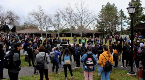 The Foothill College community listens to speeches from students and educators during the 17 minute National School Walkout.