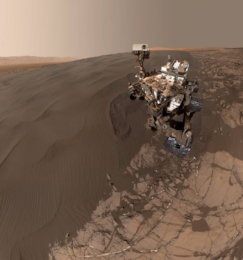 Selfie of the Curiosity Rover taken on Mars, via NASA