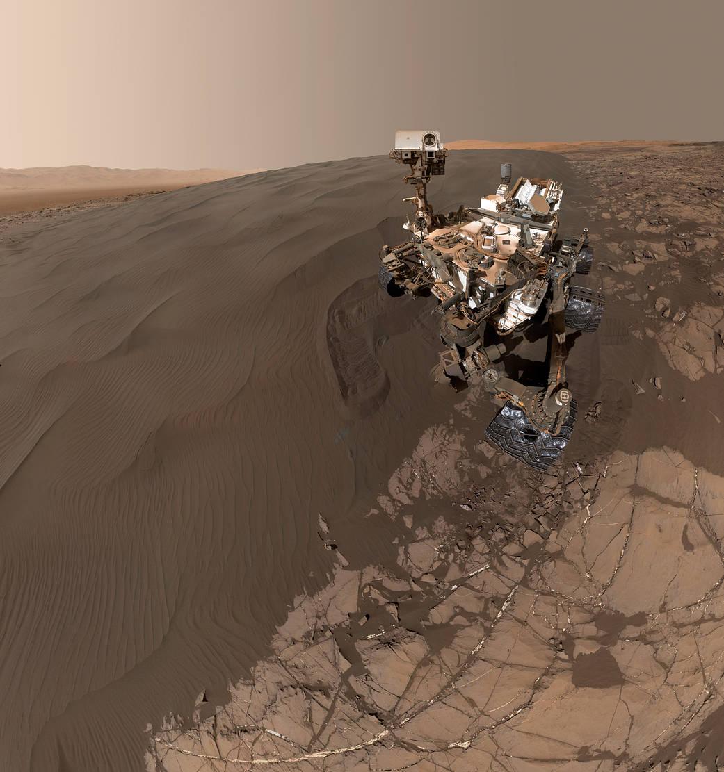 Selfie of the Curiosity Rover taken on Mars, via NASA