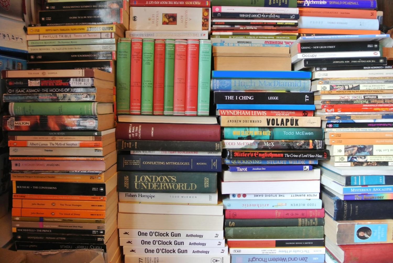 A pile of books, photo from wiki commons.
