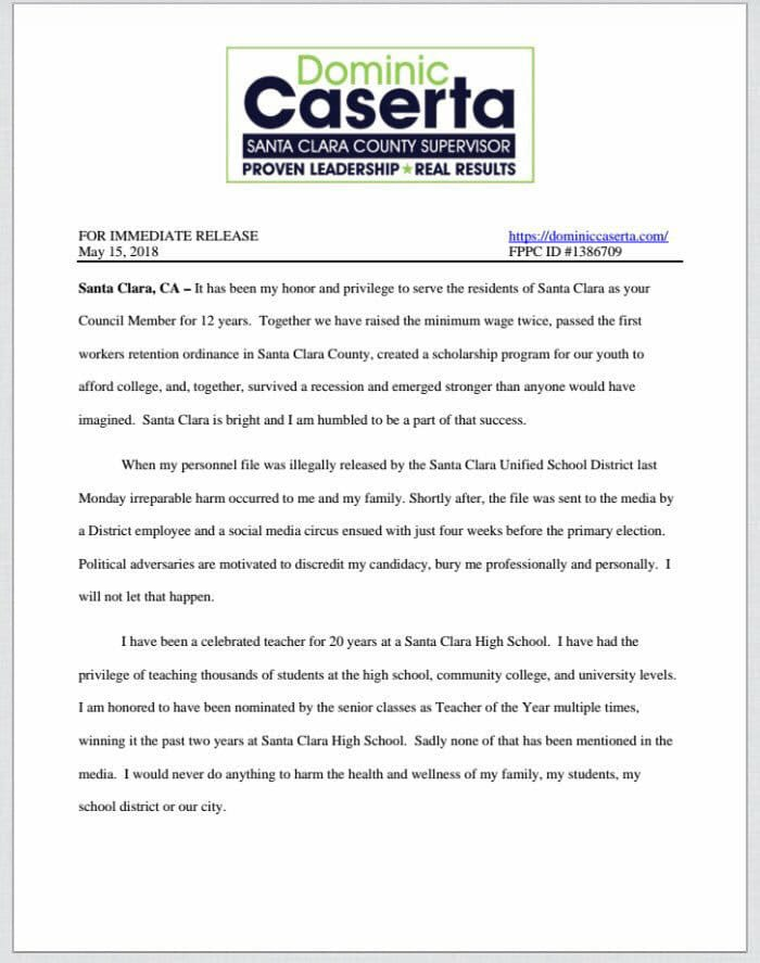 Dominic+Caserta+releases+a+statement+explaining+his+withdrawal+from+the+race+for+Santa+Clara+County+supervisor.