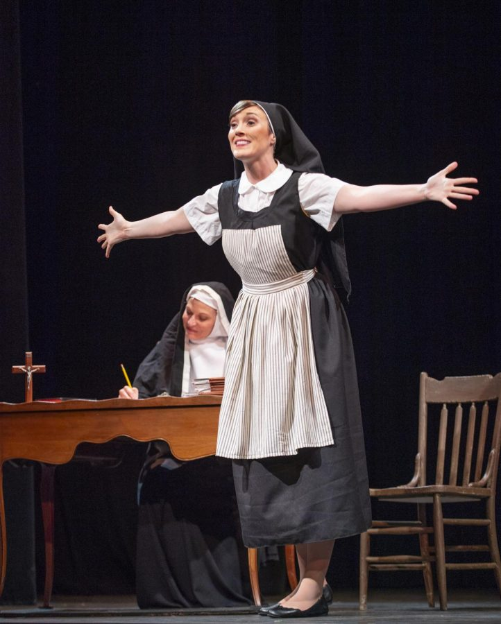 Mother Abbess, played by Rachel Michelberg, listens as Maria, played by Jillian Bader, gushes about the wonders of life.