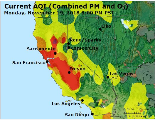 The Air Quality Index in the Bay Area as measured by AirNow.