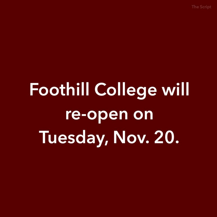 Foothill College will open Tuesday and Wednesday